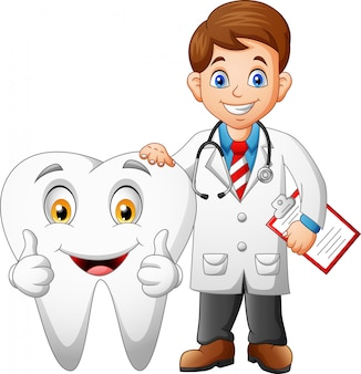 Cartoon funny doctor and tooth.