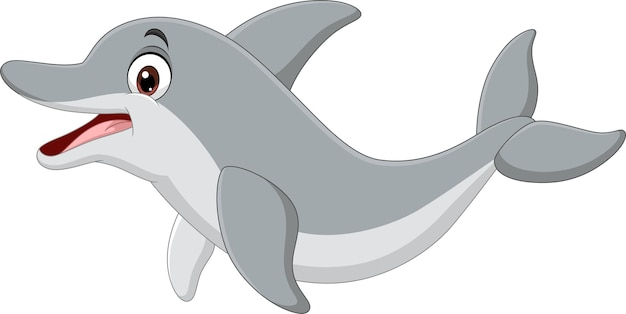 Cartoon funny dolphin on white background
