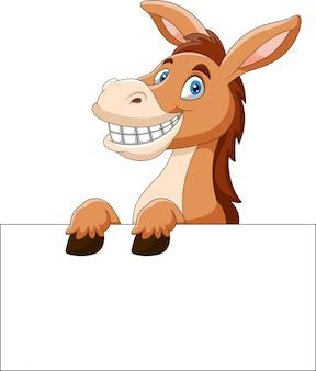 Cartoon funny donkey holding blank sign