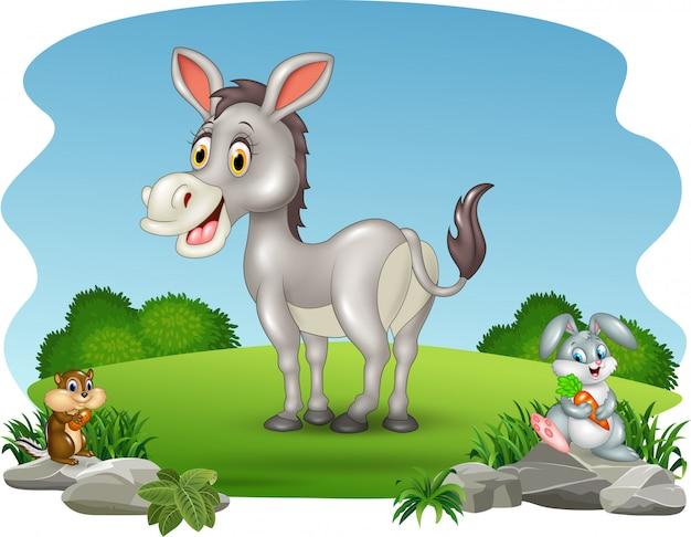 Мультфильм смешной ослик с природой фон