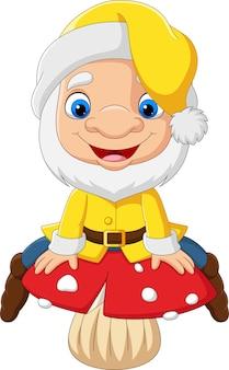 Cartoon funny dwarf sitting on mushroom