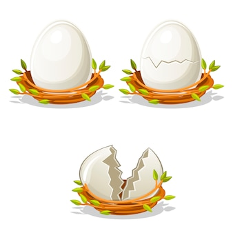 Cartoon funny egg in birds nest of twigs