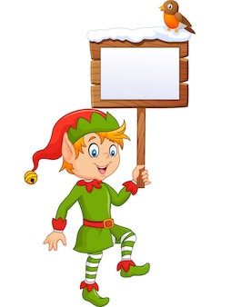 Cartoon funny elf boy holding blank sign with robin bird