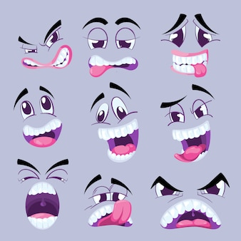 Cartoon funny faces with different expressions