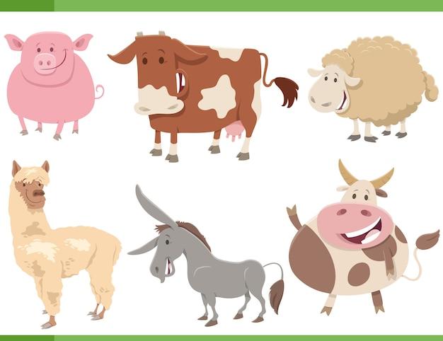 Cartoon funny farm animal characters set