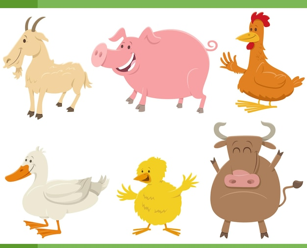 Cartoon funny farm animal characters set