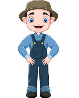 Cartoon funny farmer posing