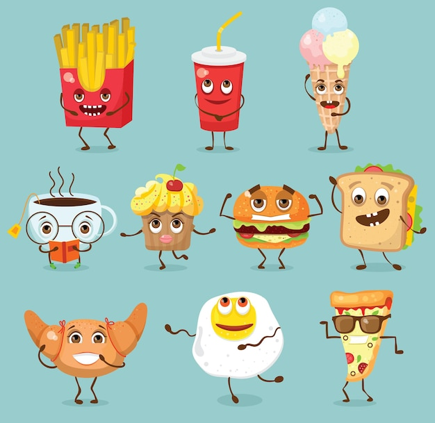 Cartoon funny food characters vector illustrations- cupcake, hamburger and pizza with emotions