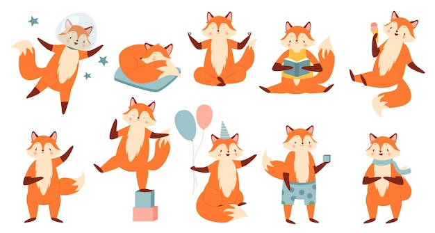Cartoon funny fox illustration set.