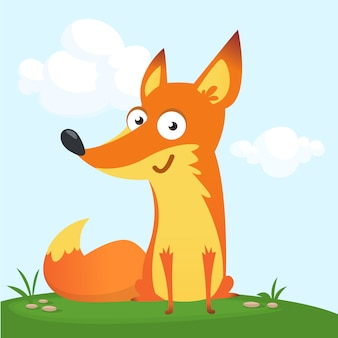 Cartoon funny fox illustration