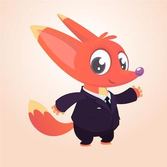 Cartoon funny fox in suit illustration
