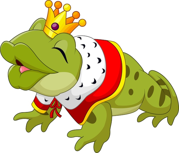 Cartoon funny frog king isolated on white background