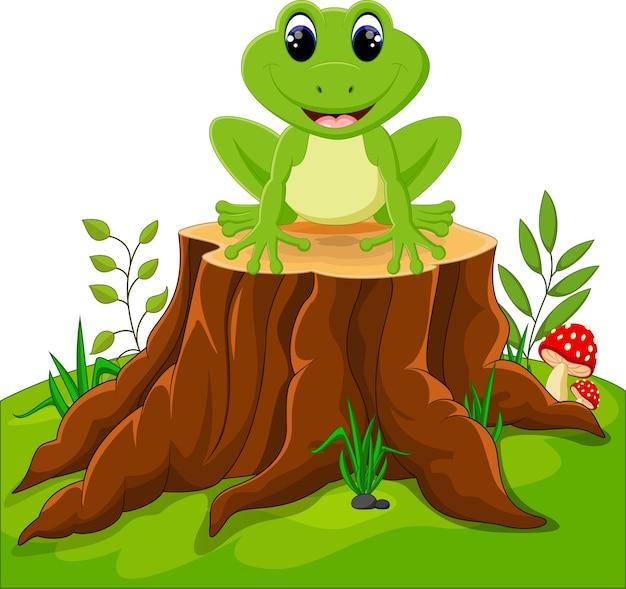 Cartoon funny frog sitting on tree stump