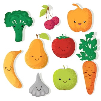 Cartoon funny fruits and vegetables vector characters