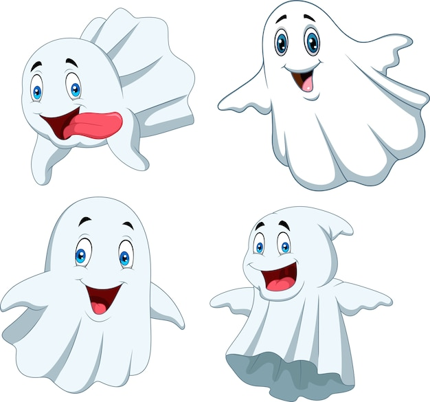 Cartoon funny ghost collection set
