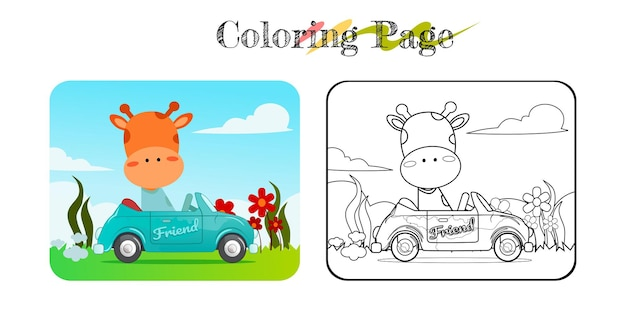Cartoon of funny giraffe on blue car with nature background coloring book or page