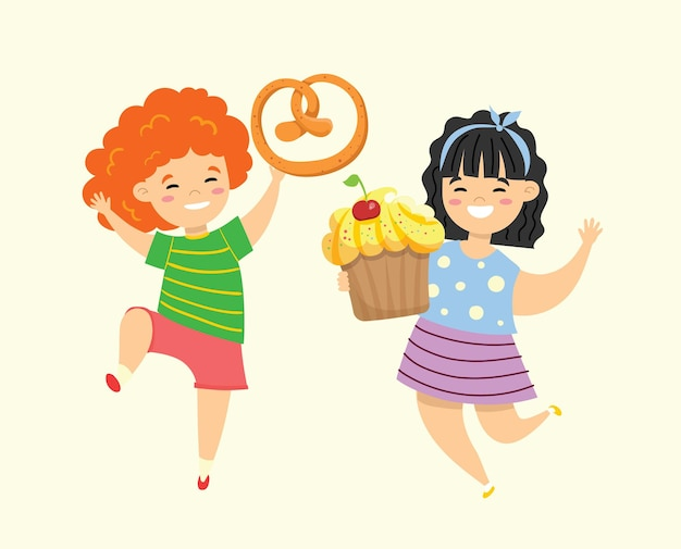 Cartoon funny girls friends with fast food cupcake and pretzel in the flat style