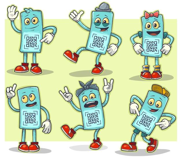 水と陽気な感情を持つ漫画面白いメガネのキャラクター。スキャン用のqrコード。男の子と女の子、インテリジェントでロッカー。黄色の背景に設定されたベクトルアイコン。