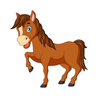 Мультяшный смешной конь, изолированные на белом фоне