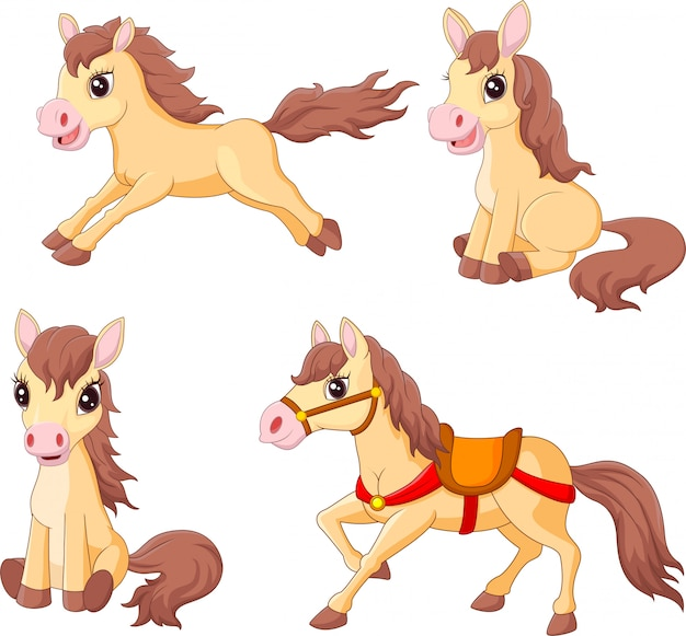 Cartoon funny horses collection set