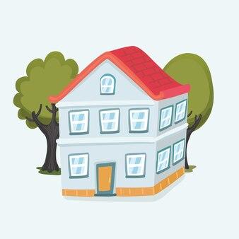 만화 재미있는 집과 흰색 바탕에 나무입니다. 고립 된 개체