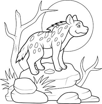 Cartoon funny hyena coloring book
