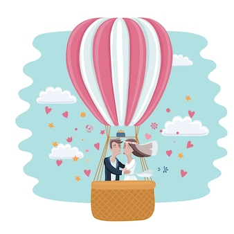 Cartoon funny illustration of the bride and groom kissing in a hot air balloon in the sky and clouds