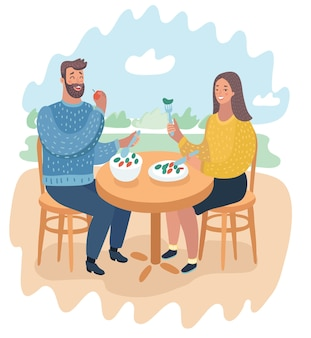 Cartoon funny illustration of couple in a street cafe