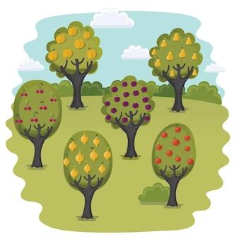 Cartoon funny illustration of garden with fruit trees