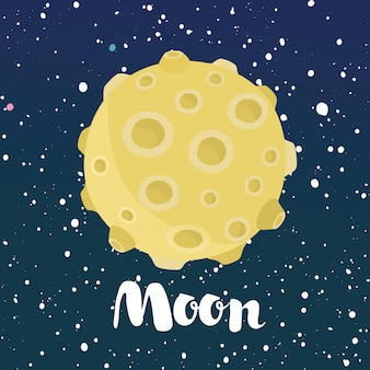Cartoon funny illustration of a nigth space sky with stars and a moon with craters
