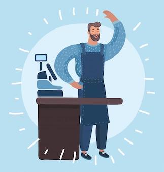 가 게 카운터와 손으로 파도의 카페 뒤에 수염 서와 친절 한 젊은 남자의 만화 재미 있은 그림. 커피와 함께 고객을 돕는 레스토랑에서 일하고 젊은 남자.