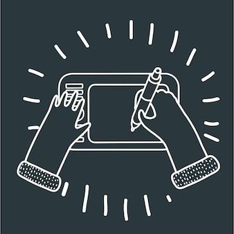 Мультфильм забавная иллюстрация руки графического дизайнера с цифровой ручкой и планшетом