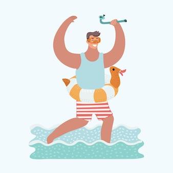 Смешные иллюстрации шаржа человека, бегущего в морской воде