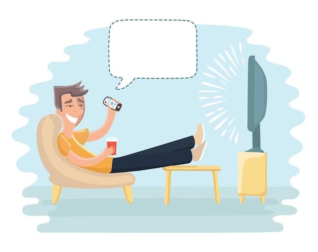 Смешные иллюстрации шаржа человека, сидящего на диване и смотрящего телевизор