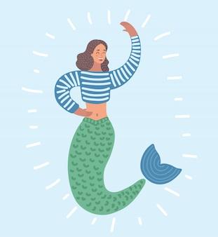 あなたに手を振っている人魚のイメージの漫画面白いイラスト。孤立した白地の女性キャラクター。