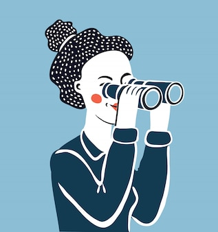 쌍안경을 통해 찾고 여자의 만화 재미 있은 그림