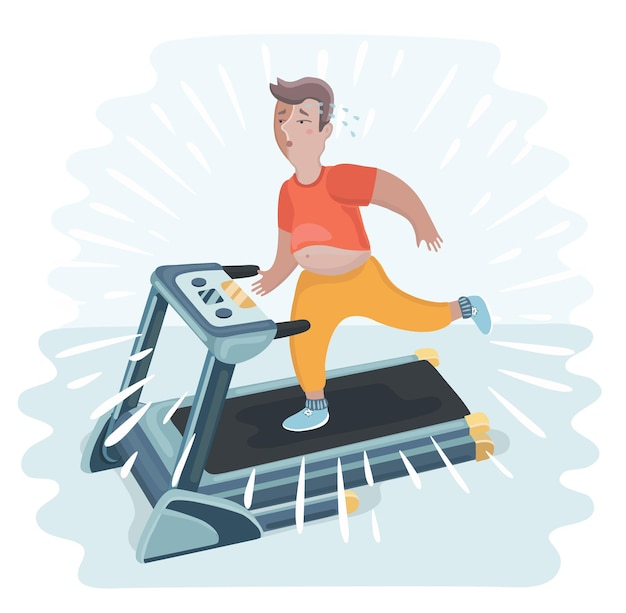 Cartoon funny illustration of overweight man jogging treadmill