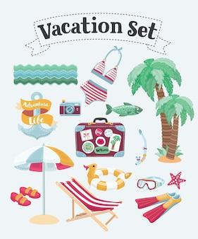 休暇とビーチの要素の漫画面白いイラストセット