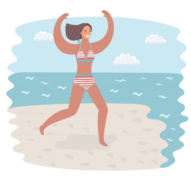 Cartoon funny illustration of young woman in woman in swimsuit running on the beach to the water. summer vacation or holliday concept. illustration. seacost.