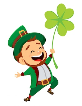 Cartoon funny leprechaun with clover.