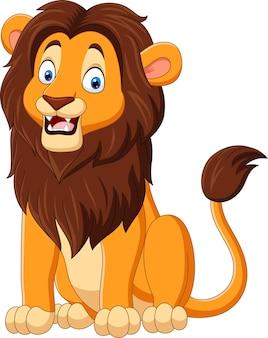 Cartoon funny lion on white