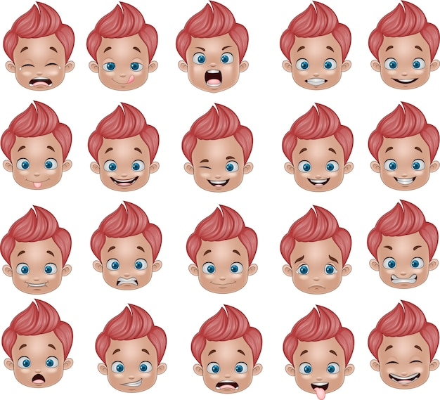 Cartoon funny little boy various face expressions
