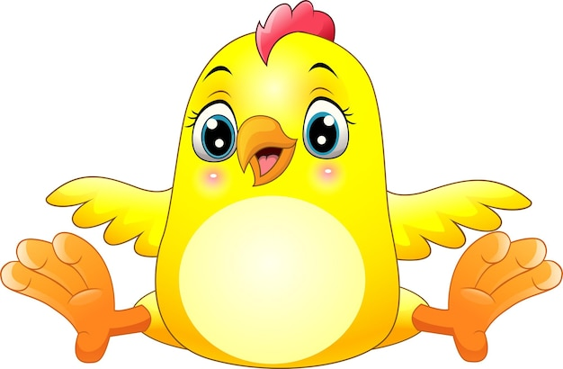 Cartoon funny little chick isolated on white