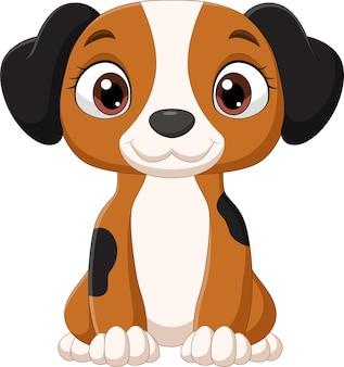 座っている漫画面白い小さな犬 Premiumベクター