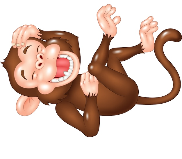 Cartoon funny monkey laughing