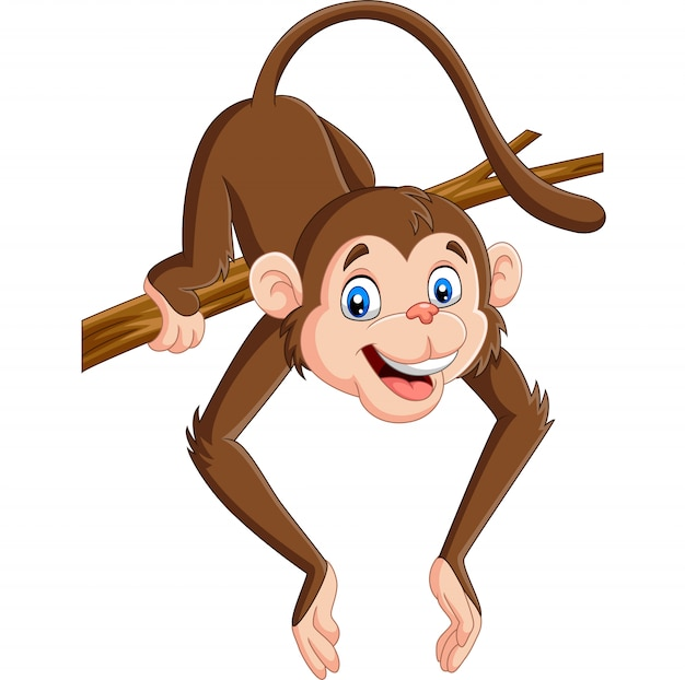Cartoon funny monkey on a tree branch