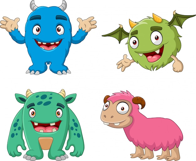 Cartoon funny monster collection set