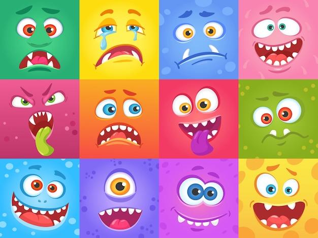 Мультяшные смешные лица монстров в квадратах милые персонажи хэллоуин жуткие лица существ с эмоциями