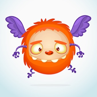Cartoon funny monster, illustration of excited monster