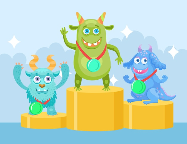 Cartoon funny monsters at championship flat illustration. happy colorful creatures characters getting prize-winning places